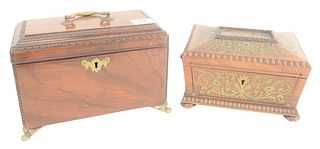 Two Regency Boxes to include rosewood with brass inlay sewing box with yellow silk interior, height 5 inches, length 9 inches, along with a mahogany t