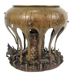 Large Bronze Censer in the form of a koi jumping out of the water under a lotus, height 12 3/4 inches, diameter 14 inches.