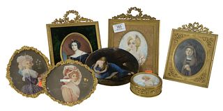 Seven Piece Group of Miniature Paintings to include a round French box having a painted portrait of a woman wearing a crown, an oval Comte De Saint Ma