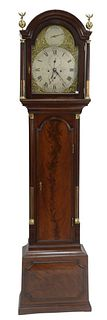 Thomas Jackson Mahogany Tall Case Clock having arched hood with brass eagle and ball finials, brass face marked Tho Jackson, London, brass stop flutin