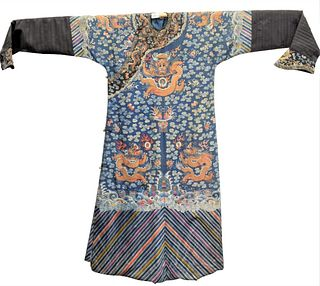 Chinese Embroidered Silk Dragon Robe depicting embroidered five claw dragons on the front and back with swirling flaming clouds, emblems, and bats on
