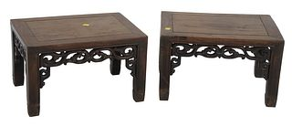 "Pair of Chinese Hardwood Stands having carved apron, height 9 3/4 inches, top 12"" x 16 1/4""."