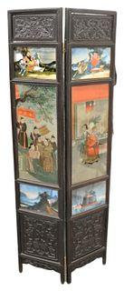 Chinese two panel folding screen, each panel having hardwood frame, two carved panels and three reverse paintings on glass, panels depicting figures a