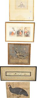 Group of Eight Framed Asian Items to include an embroidered crane badge with silver and gold threads, a silk embroidered sleeve with fish, a Japanese