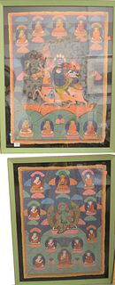 "Four Piece Group to include two Chinese Thangkas, oil on cloth; a Chinese embroidered dragon badge, 33"" x 25""; along with a silk embroidered floral pi"