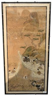 "Japanese Framed Scroll Painting, having a mountain landscape, boats, a female swimmer, and a dragon, ink and color on paper, 18th century, image 39"" x"
