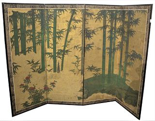 A Four-Fold Gold Leafed and Painted Paper Screen, subject of embossed fencing, made from bound brush, decorated with a Kano school nature scene, Edo p