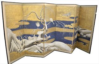 Six-Fold Gilt and Polychrome Painted Floor Screen, depicting herons and willows along a snow covered bank, on paper,  probably18th century, height 60