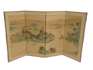 Chinese Four Panel Silk Screen with hand-painted landscapes mounted in an elmwood frame,height 42 1/2 inches, width 74 inches.