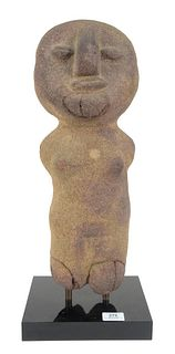 Large Stone Pre-Columbian Standing Figure, on black base, height 20 inches.