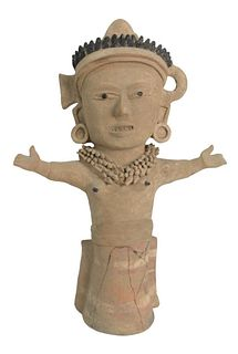 Large Pre Columbian Standing Figure, terracotta clay, in casula posture with cheerful facial expression, ear and neck jewelry, (as is), height 21 1/4