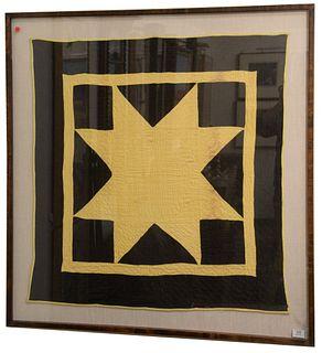 "American Pieced Cotton Lone Star Amish Crib Quilt, 1910, 39 1/2"" x 36 1/2""."