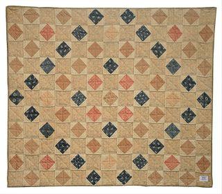 """American Pieced Cotton Diamonds In The Square Crib Quilt, circa 1880, 37 1/2"""" x 37 1/2""""."""