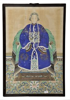 "Chinese Ancestor Portrait wearing a blue robe with peacock badge and dragon sleeves, watercolor on paper, mounted on linen, (repaired), 25"" x 37 1/2""."