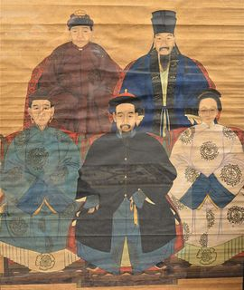 "Large Framed Chinese Ancestral Group, painting on paper, front figures having hibiscus on their robes, image 39 1/2"" x 32 1/2""."