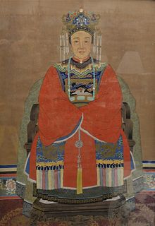 "Large Chinese Ancestral Portrait seated scholar figure wearing a red robe with dove patch, oil on silk, 34"" x 49""."