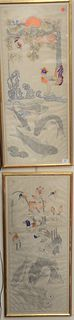 """Two Korean Oil on Linen Wedding Scrolls, one with ducks and hummingbirds; one with fighting roosters, image size of each: 35 1/4"""" x 14 1/2""""."""