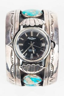 Massive Cuff Wristwatch with Turquoise Stones