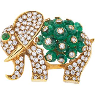 BROOCH WITH EMERALDS AND DIAMONDS IN 18K YELLOW GOLD with 18 Rondelle and cabochon cut emeralds, and 113 Brilliant cut diamonds