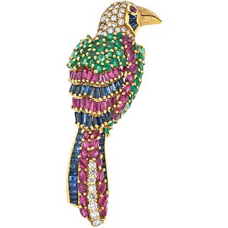 BROOCH WITH EMERALDS, RUBIES, SAPPHIRES AND DIAMONDS IN 18K YELLOW GOLD with 45 emeralds, 48 rubies, 50 sapphires, 46 diamonds