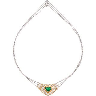 CHOKER WITH EMERALD AND DIAMONDS IN WHITE AND YELLOW 18K GOLD 1 emerald ~2.0 ct and 94 diamonds ~3.06 ct