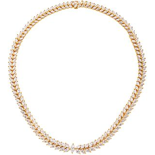 CHOKER WITH DIAMONDS IN 18K YELLOW GOLD 1 Marquise cut diamond ~0.67 ct Clarity: SI1 and 203 diamonds, different cuts