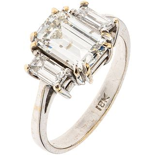 RING WITH GIA CERTIFIED DIAMOND AND DIAMONDS IN 18K WHITE GOLD 1 emerald cut diamond~1.70 ct Clarity: I1