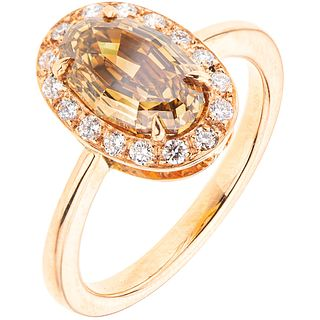 RING WITH DIAMOND AND SYNTHETICS IN 18K PINK GOLD 1 fantasy cut diamond ~2.0 ct Clarity: VS2 Color: champagne. Size: 6