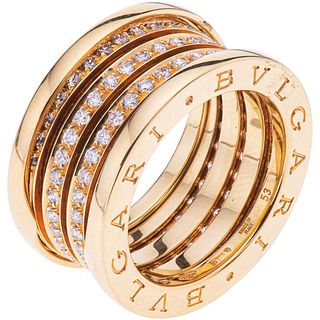 RING WITH DIAMONDS IN 18K YELLOW GOLD, BVLGARI, B.ZERO1 COLLECTION with 102 brilliant cut diamonds. Size: 6 ¾