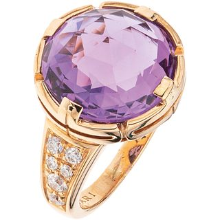 RING WITH AMETHYST AND DIAMONDS IN 18K PINK GOLD, BVLGARI, PARENTESI COLLECTION 1 amethyst ~7.0 ct and 12 diamonds