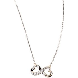 CHOKER AND PENDANT WITH DIAMONDS IN 18K WHITE GOLD, TIFFANY & CO., PALOMA PICASSO COLLECTION with 10 diamonds~0.16ct
