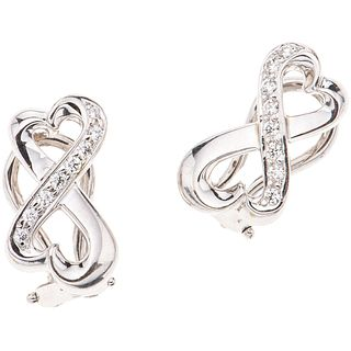 PAIR OF EARRINGS WITH DIAMONDS IN 18K WHITE GOLD, TIFFANY & CO., PALOMA PICASSO COLLECTION with 16 diamonds ~0.16 ct
