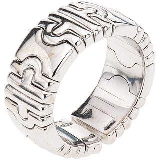 RING IN 18K WHITE GOLD, BVLGARI, PARENTESI COLLECTION Open design. Weight: 12.7 g. Size: 5 ½