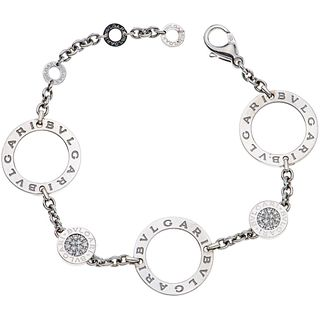BRACELT WITH DIAMONDS IN 18K WHITE GOLD, BVLGARI, BVLGARI BVLGARI COLLECTION with 48 brilliant cut diamonds ~0.40 ct