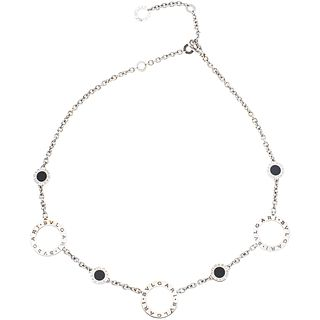 CHOKER WITH ONYX IN 18K WHITE GOLD, BVLGARI, BVLGARI BVLGARI COLLECTION 4 onyx applications