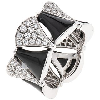 RING WITH ONYX AND DIAMONDS IN 18K WHITE GOLD, BVLGARI, DIVAS' DREAM COLLECTION with 80 brilliant cut diamonds. Size:7