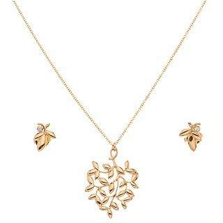 CHOKER,PENDANT AND PAIR OF STUD EARRINGS WITH DIAMONDS IN 18K PINK GOLD, TIFFANY & CO., PALOMA PICASSO OLIVE LEAF COLLECTION
