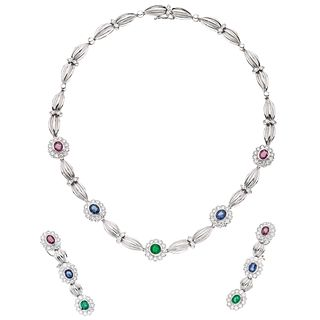 CHOKER AND PAIR OF EARRINGS WITH EMERALDS, RUBIES, SAPPHIRES AND DIAMONDS IN 18K WHITE GOLD with 11 precious gemstones and 154 diamonds