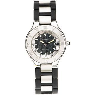 CARTIER AUTOSCAPH SIGLO 21 WATCH IN STEEL REF. 2427  Movement: automatic
