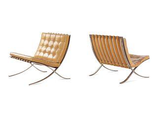 Ludwig Mies van der Rohe (German-American, 1886-1969) Pair of Barcelona Lounge Chairs,Knoll International, USA
