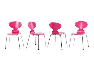 Arne Jacobsen (Danish, 1902-1971) Set of Four Ant Chairs,Fritz Hansen, Denmark