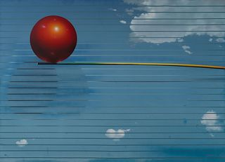 Masoud Yasami (American, b. 1949) Composition with a Red Sphere, 1984