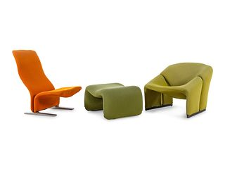 Pierre Paulin  (French, 1927-2009) Concorde Lounge Chair and Model 598 Lounge Chair, together with an Olivier Mourgue Ottoman,Artifort, France / Nethe
