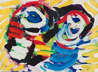 Karel Appel  Happy Couple (Black and Blue Eye)
