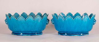 Pair of Bird & Floral Incised Turquoise Monteiths