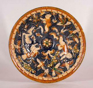 Boy's Bowl with Blue and Gold Glaze