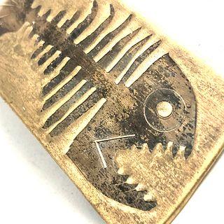 Fossilized Bronze Fish Money Clip