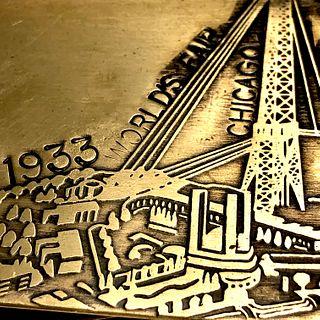 Worlds Fair Tray Money Clip - 1933 Bronze - Chicago