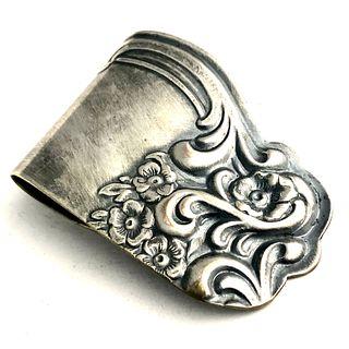 Silver Plated Tray Edge Money Clip - Dense Mid-Century Design