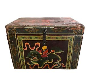 Chinese Style Antique Wood Trunk Hand-Painted